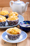 Carrot and orange cupcakes. With icing Stock Image