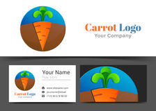 Carrot Orange Green Corporate Logo and Business Card Sign. Template. Creative Design with Colorful Logotype Visual Identity Composition Made of Multicolored Royalty Free Stock Images