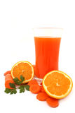Carrot and orange juice Stock Images