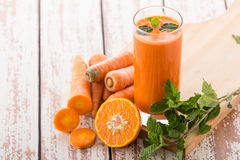Carrot and orange mix juice Royalty Free Stock Images