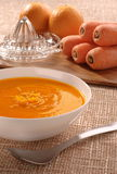 Carrot and Orange Soup (with ingredients) Royalty Free Stock Photography