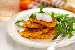 Carrot pancakes Royalty Free Stock Image
