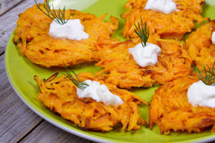 Carrot Pancakes With  Yogurt Sauce. Royalty Free Stock Images