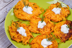 Carrot Pancakes With  Yogurt Sauce. Stock Photo