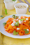 Carrot pasta salad with feta Royalty Free Stock Photography