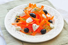 Carrot pasta salad with feta, olivs and dill Royalty Free Stock Photo