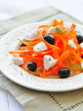 Carrot pasta salad with feta, olivs and dill Royalty Free Stock Images