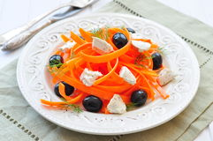 Carrot pasta salad with feta, olivs and dill Stock Photography
