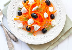 Carrot pasta salad with feta, olivs and dill. Carrot pasta salad with feta, olivs, dill Stock Photography