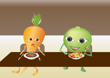 Carrot and pea in the dining-hall stock image