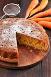 Carrot pie and on wooden table Stock Photography