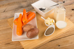 Carrot and potato soup Royalty Free Stock Photos