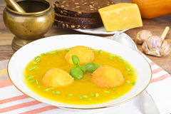 Carrot, Pumpkin Cream Soup with Cheese Balls Diet Food Royalty Free Stock Photography