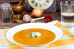Carrot, Pumpkin Cream Soup Diet Food. Royalty Free Stock Image