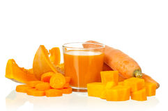 Carrot and pumpkin juice stock photography
