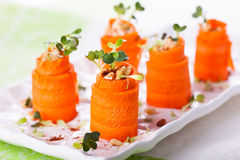 Carrot Roll-Ups Royalty Free Stock Images