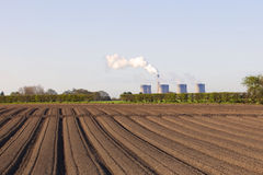 Carrot rows with power station Stock Image