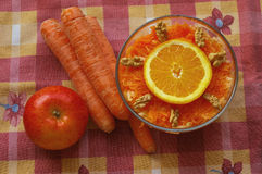 Carrot salad. A bowl with a carrot salad with ingredients Stock Photos