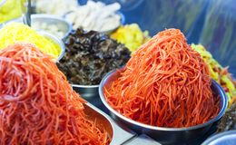 Carrot salad. For sale already prepared, in the market stalls of chisinau - Republic of Moldova stock photos