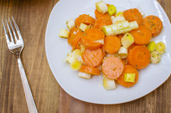 Carrot salad. Salad with cooked carrots,carrot salad with leeks Royalty Free Stock Image
