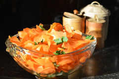 Carrot salad in glass bowl Royalty Free Stock Photo