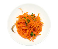 Carrot salad. Grated carrot salad with spices and cilantro stock images