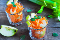 Carrot salad with green apple and celery royalty free stock photos