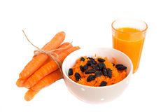 Carrot salad and juice Royalty Free Stock Photography