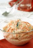 Carrot salad with mayonnaise in glass bowl Stock Photo