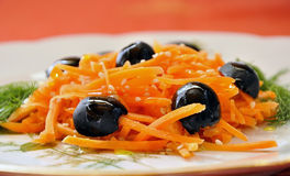 Carrot salad with olives Stock Image