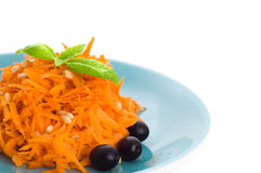Carrot salad with pine nuts Stock Photos