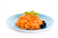 Carrot salad with pine nuts and olives Stock Photography