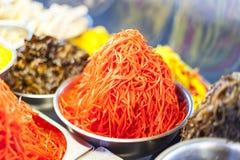 Carrot salad. For sale already prepared, in the market stalls of chisinau - Republic of Moldova stock image