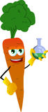 Carrot scientist holds beaker of chemicals Stock Image