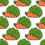 Carrot seamless pattern background hand drawn style of bio organic eco healthy food vegetable vegan vector illustration. Stock Images