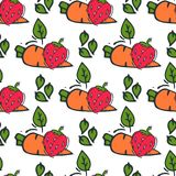 Carrot seamless pattern background hand drawn style of bio organic eco healthy food vegetable vegan vector illustration. Royalty Free Stock Photo