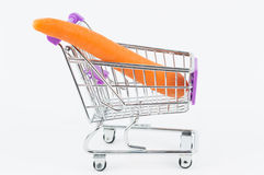 Carrot in a shopping cart Royalty Free Stock Photos