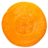 Carrot slice. Close up of carrot slice isolated white background Royalty Free Stock Photo