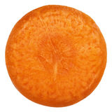 Carrot slice isolated on white. Slice of carrot on white background Royalty Free Stock Photos