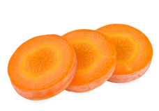 Carrot slice isolated on white background. Fresh carrot slice isolated on white background Royalty Free Stock Photography