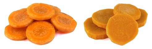 Carrot slice isolated on white. Carrots sliced isolated on a white background Royalty Free Stock Images