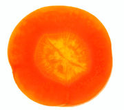 Carrot slice on white / super close-up Royalty Free Stock Image