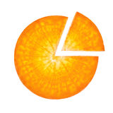 Carrot sliced in the form of pie chart Stock Image