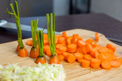 Carrot slices. After cuttig them to slices Royalty Free Stock Images