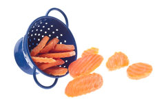 Carrot Slices in Blue Colander Royalty Free Stock Images