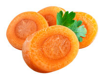 Carrot slices. Clipping path Royalty Free Stock Photo