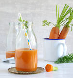 Carrot-smoothie with banana, ginger and chia seeds. A Carrot-smoothie with banana, ginger and chia seeds Royalty Free Stock Photography