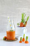Carrot-smoothie with banana, ginger and chia seeds Stock Photo