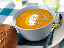 Carrot-soup. A bowl of carrot soup Royalty Free Stock Photos