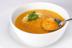 Carrot soup. Delious bowl of homemade carrot soup royalty free stock images